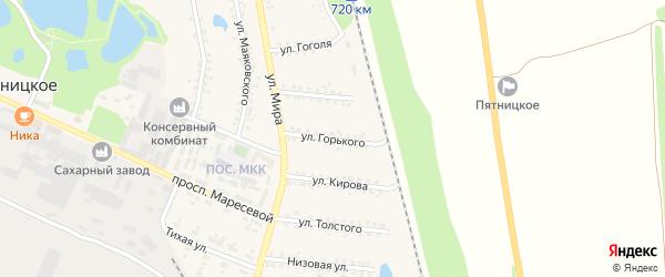 Улица Горького на карте поселка Пятницкого с номерами домов