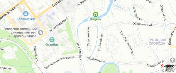 Островная улица на карте Старого Оскола с номерами домов