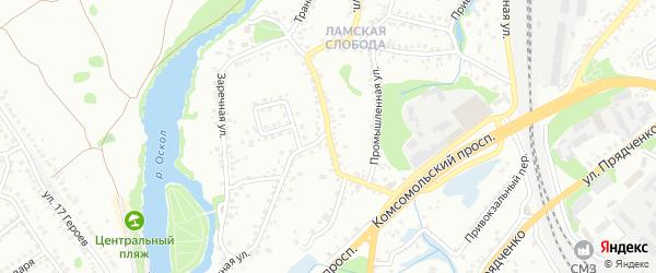 Транспортная улица на карте Старого Оскола с номерами домов