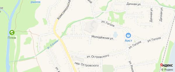 Молодежная улица на карте поселка Волоконовки с номерами домов