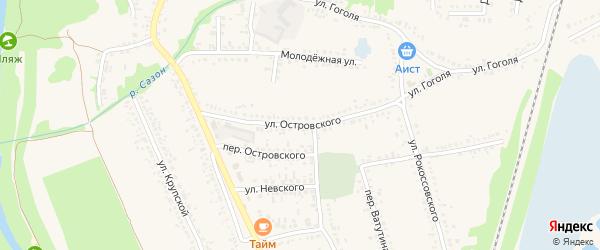 Улица Островского на карте поселка Волоконовки с номерами домов