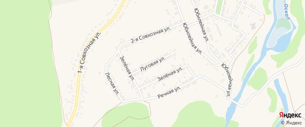 Луговая улица на карте Прибрежного поселка с номерами домов