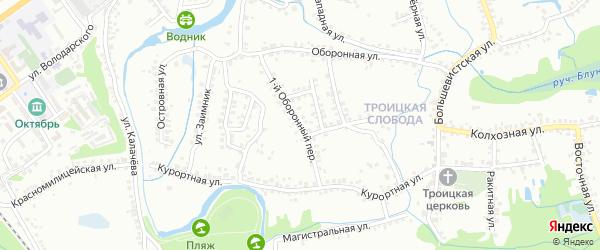 1-й Оборонный переулок на карте Старого Оскола с номерами домов
