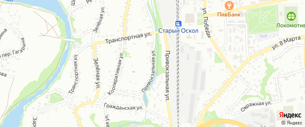 Привокзальная улица на карте Старого Оскола с номерами домов