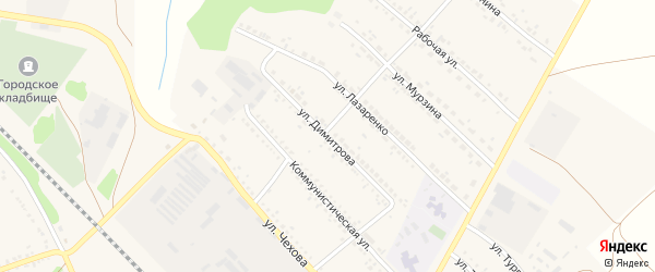 Улица Димитрова на карте поселка Волоконовки с номерами домов