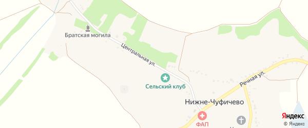 Центральная улица на карте села Нижне-Чуфичево с номерами домов