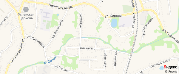 Дачная улица на карте поселка Волоконовки с номерами домов