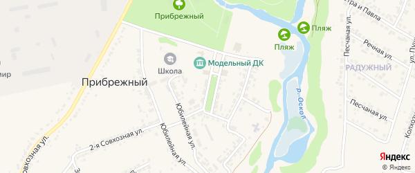Центральная улица на карте Прибрежного поселка с номерами домов