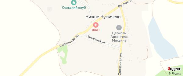Солнечная улица на карте села Нижне-Чуфичево с номерами домов