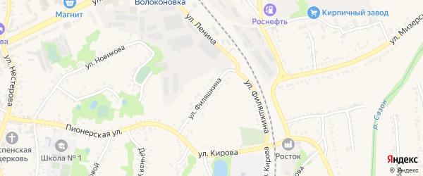 Улица Филяшкина на карте поселка Волоконовки с номерами домов