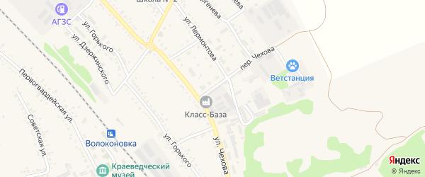 Переулок Чехова на карте поселка Волоконовки с номерами домов