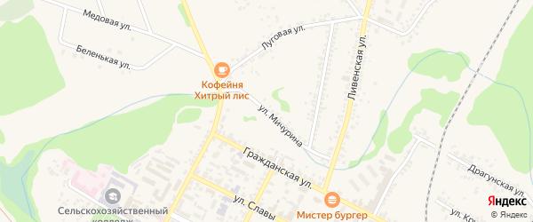 Улица Мичурина на карте Нового Оскола с номерами домов