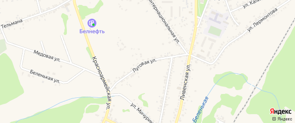 Луговая улица на карте Нового Оскола с номерами домов