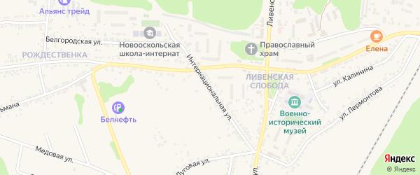 Интернациональная улица на карте Нового Оскола с номерами домов
