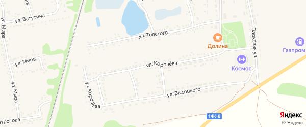 Улица Королева на карте поселка Волоконовки с номерами домов