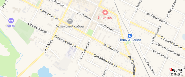 Бархатная улица на карте Нового Оскола с номерами домов