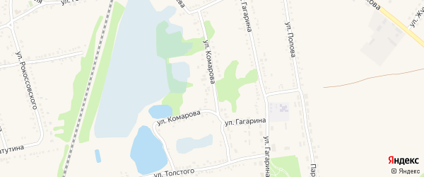 Улица Комарова на карте поселка Волоконовки с номерами домов