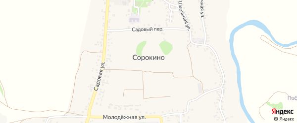Центральный переулок на карте села Сорокино с номерами домов