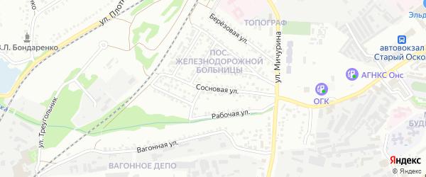 Сосновая улица на карте Старого Оскола с номерами домов
