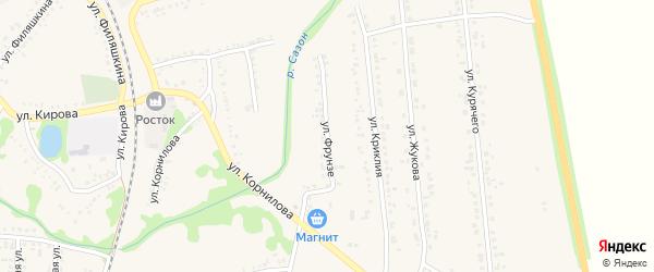 Улица Фрунзе на карте поселка Волоконовки с номерами домов