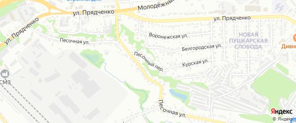 Песочный переулок на карте Старого Оскола с номерами домов