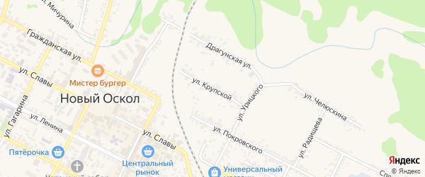 Улица Крупской на карте Нового Оскола с номерами домов