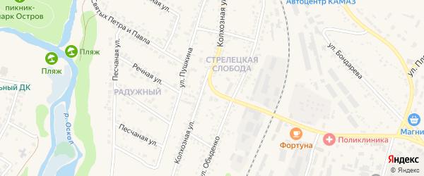 Колхозная улица на карте Нового Оскола с номерами домов