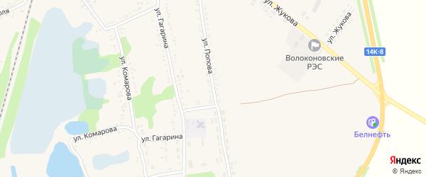 Улица Попова на карте поселка Волоконовки с номерами домов