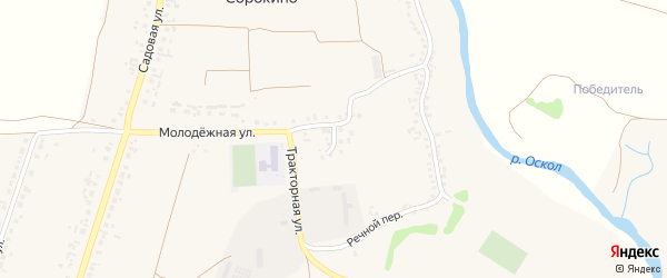 Молодежный переулок на карте села Сорокино с номерами домов