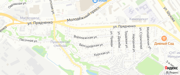 Воронежская улица на карте Старого Оскола с номерами домов
