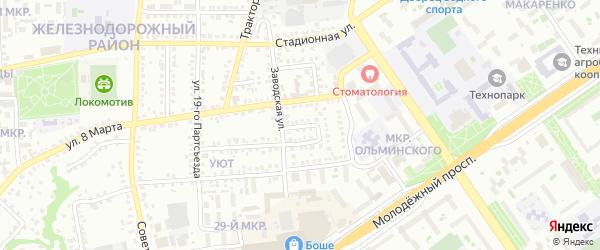 1-й Заводской переулок на карте Старого Оскола с номерами домов