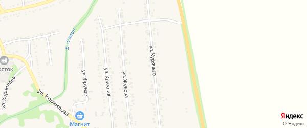 Улица Курячего на карте поселка Волоконовки с номерами домов