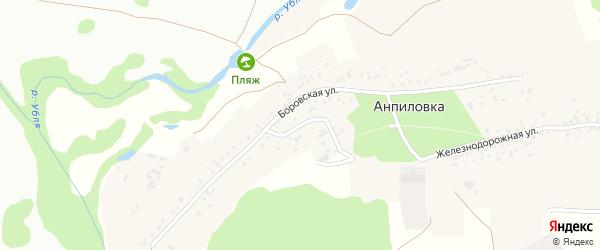 Боровской переулок на карте села Анпиловки с номерами домов