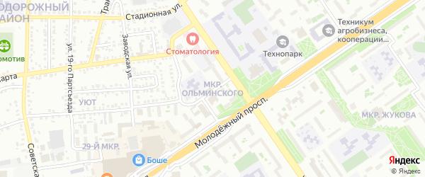 Микрорайон Ольминского на карте Старого Оскола с номерами домов