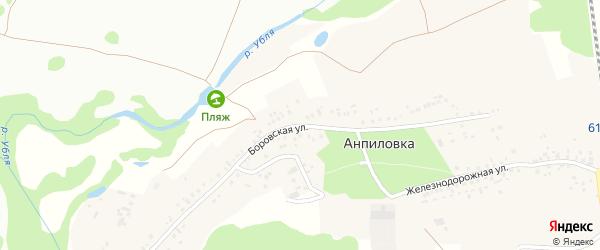 Боровская улица на карте села Анпиловки с номерами домов