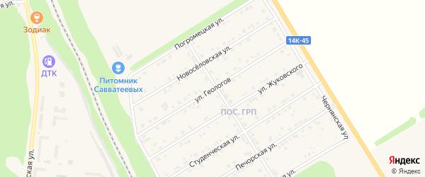 Улица Геологов на карте Нового Оскола с номерами домов
