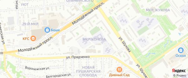 Микрорайон Конева на карте Старого Оскола с номерами домов