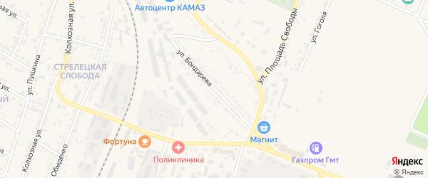 Улица Бондарева на карте Нового Оскола с номерами домов