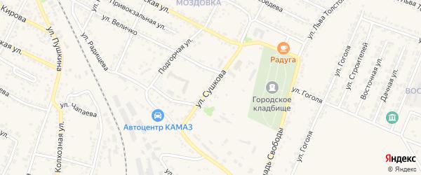 Улица Сушкова на карте Нового Оскола с номерами домов