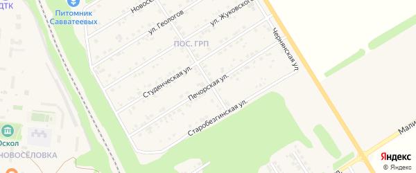 Печорская улица на карте Нового Оскола с номерами домов
