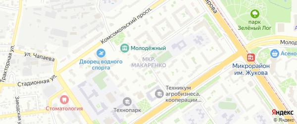 Микрорайон Макаренко на карте Старого Оскола с номерами домов