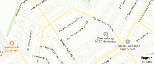8-й Владимирский переулок на карте Старого Оскола с номерами домов