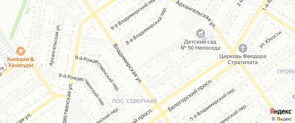 7-й Владимирский переулок на карте Старого Оскола с номерами домов