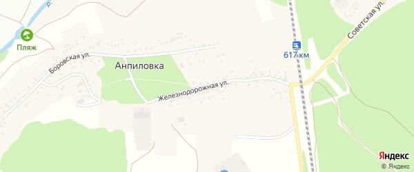 Железнодорожная улица на карте села Анпиловки с номерами домов