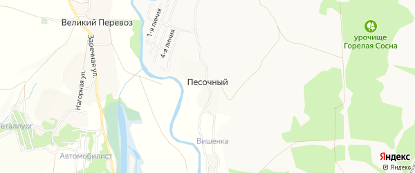 Карта Песочного хутора в Белгородской области с улицами и номерами домов