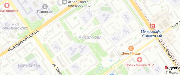 Микрорайон Жукова на карте Старого Оскола с номерами домов