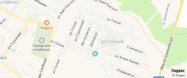Дачная улица на карте Нового Оскола с номерами домов