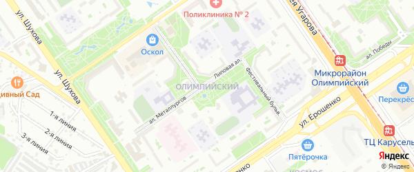 Олимпийский микрорайон на карте Старого Оскола с номерами домов