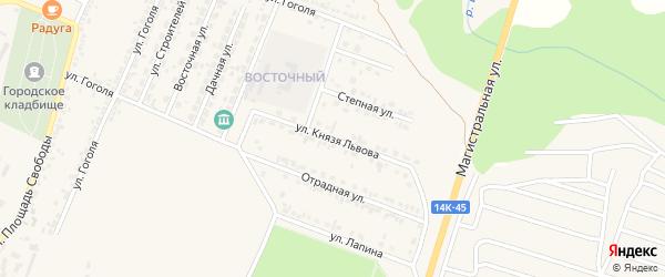 Улица Князя Львова на карте Нового Оскола с номерами домов