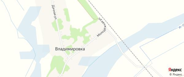 Молодежная улица на карте хутора Владимировки с номерами домов